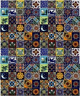 Cerames – Saburo – Azulejos decorativos de colores de la pared, mexicano, diseño de mosaico, para cuarto de baño y cocina, 5x5 cm, 120 piezas por paquete.