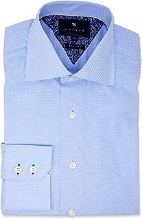 Wayver Light Blue Twill Houndstooth Business Shirt-Light Blue