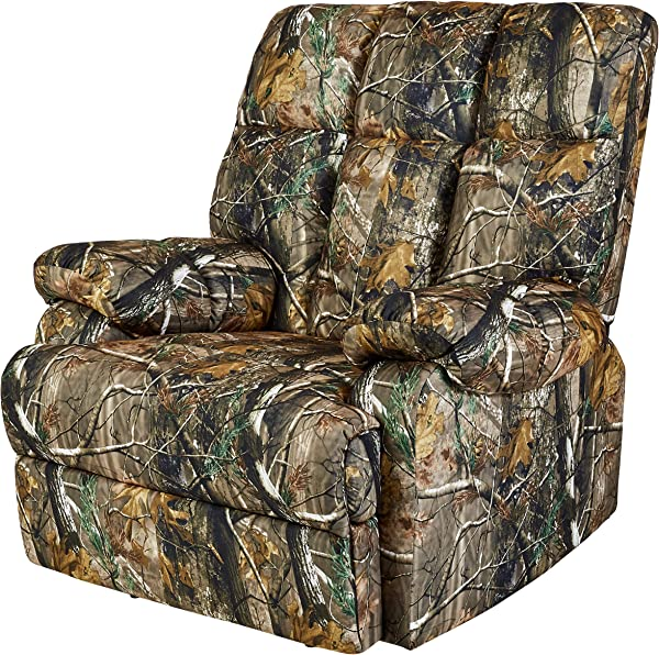 JC Home Liano Rocker Recliner With Camouflage Print Fabric Upholstery Jungle Green