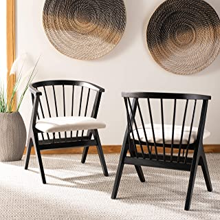 Safavieh Home Noah Black and Beige Spindle (Set of 2) Dining Chair,