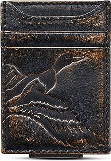 HOJ Co. DUCK Front Pocket Wallet   Slim Money Clip Wallet   Strong Magnetic Closure   Duck Hunter Gift