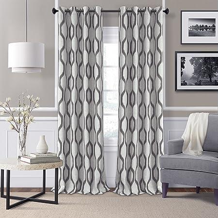 Amazon Com Elrene Home Fashions Kaiden Geometric Room Darkening Grommet Linen Window Curtain Drape Panel 52 W X 95 L 1 Gray Home Kitchen