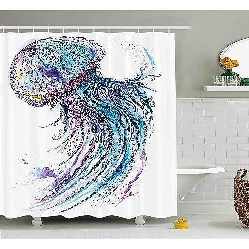 Ambesonne Jellyfish Shower Curtain Set Aqua Colors Artsy Ocean Animal Print Sketch Style Creative Sea