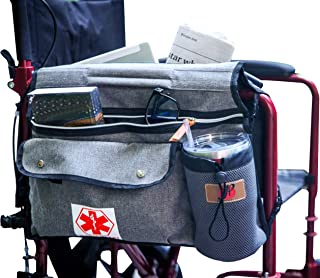 Wheelchair Side Pouch Bag(Double-Side) with Cup and Phone Holder for Manual, Electric or Power Mobility Scooter Full Armre...