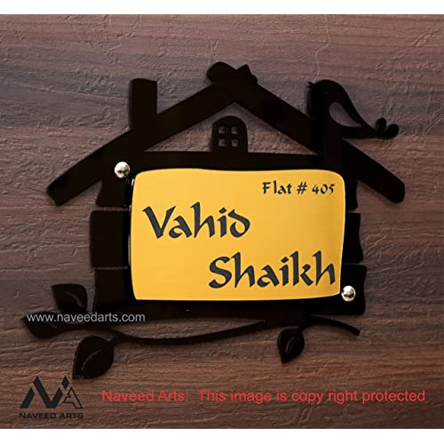 Naveed Arts   Jb002Gold Home Door Name Plate   Acrylic, Laser Cut    Personalised /