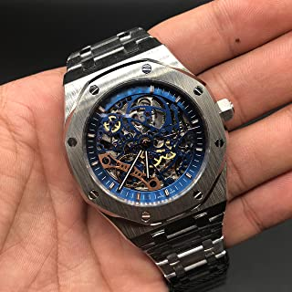 Luxury Brand Stainless Steel Silver Color Blue dial Automatic Movement Skeleton Oak Watch Watches