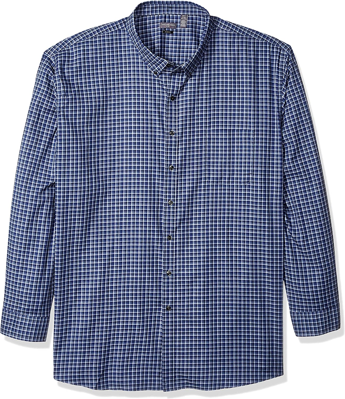 Van Heusen Men's Big and Tall Slim Fit Flex Long Sleeve Button Down Stretch Check Shirt