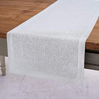 Solino Home Festive Linen Table Runner – White Linen Runner Woven with Decorative Zari - 14 x 108 Inch