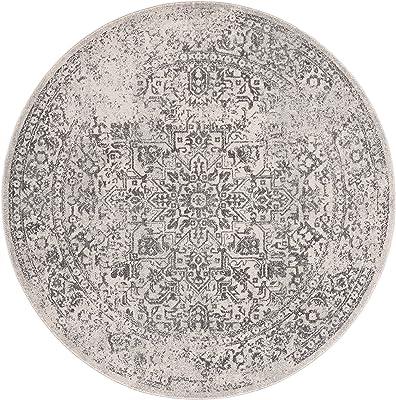 "Safavieh Evoke Collection EVK256F Oriental Shabby Chic Vintage Distressed Area Rug, 6' 7"" Round, Ivory/Grey"