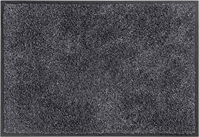 Mistral Washable Cotton and Polyester Entrance Mat, 115 x 180 cm, Charcoal Grey