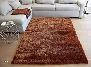 LA Shaggy Shag Solid Soft Fluffy Furry Fuzzy Flokati Plush Medium Pile Decorative Designer Hand Woven Hand Knotted 5-Feet-by-7-Feet Polyester Made Area Rug Carpet Rug Rust Color