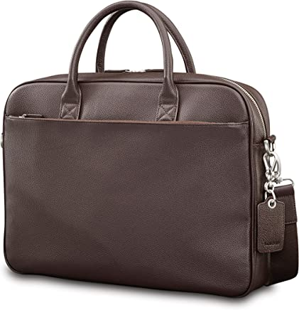 6f09c2d3b7d6 Samsonite Mens Leather Classic Slim Briefcase Dark Brown