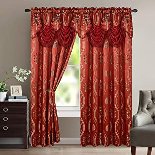 Elegant Comfort Luxurious Beautiful Curtain Panel Set with Attached Valance and Backing 54