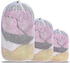 Mesh Laundry Bag, Kmeivol 3 Pack Laundry Bags, Heavy Duty Drawstring Laundry Mesh Bag, Durable White Mesh laundry Bag for ...