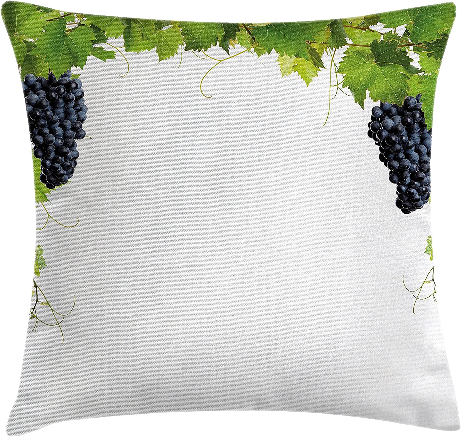 Ambesonne Vineyard Throw Pillow Cushion Cover Wine Leaf With Loose Bunch Of Large Berries Tannin Breed French Village Image Decorative Square Accent Pillow Case 16 X 16 Green Black Home