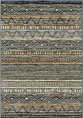 Armen Living Togo Area Rug, 5x8, Blue,Gold,Cream
