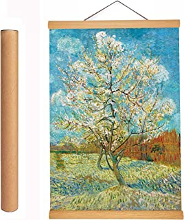 Retro Wall Art Oil Paintings Wooden Framed Poster Decor Paintings Hanging 3D Canvas Abstract Artwork Decoration Van Gogh (Flowering Peach Tree (1888))