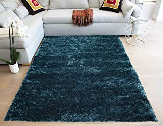 Goldman Spotlight Cozy Shag Shaggy Fluffy Fuzzy Furry Soft Solid Plush Luxury Ultimate Modern Natural 8-Feet-by-10-Feet Polyester Made Area Rug Carpet Rug Teal Color
