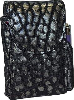 Portasigarette, porta pacchetto sigarette con porta accendino, Vera Pelle - Etabeta Artigiano Toscano - Made in Italy (Ner...