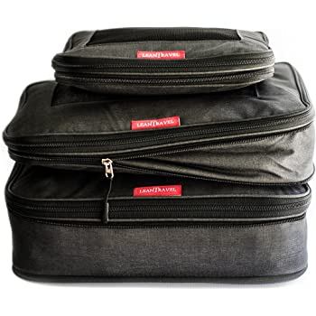 LeanTravel Compression Packing Cubes Luggage Organizers for Travel with Double Z