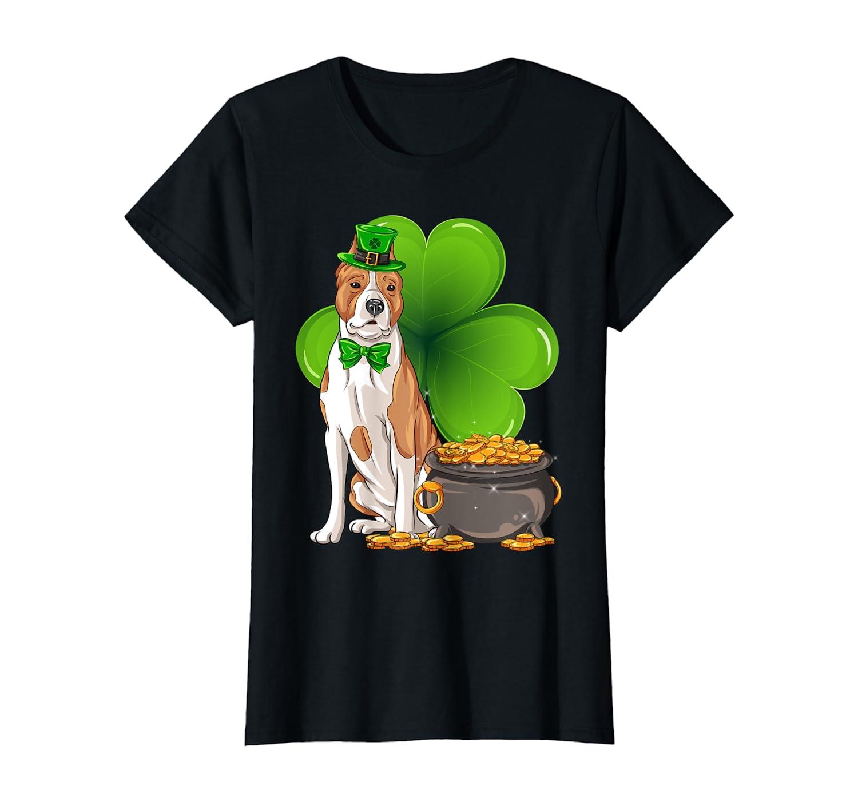American Staffordshire Terrier St Patricks Day Leprechaun T-Shirt-Yolotee