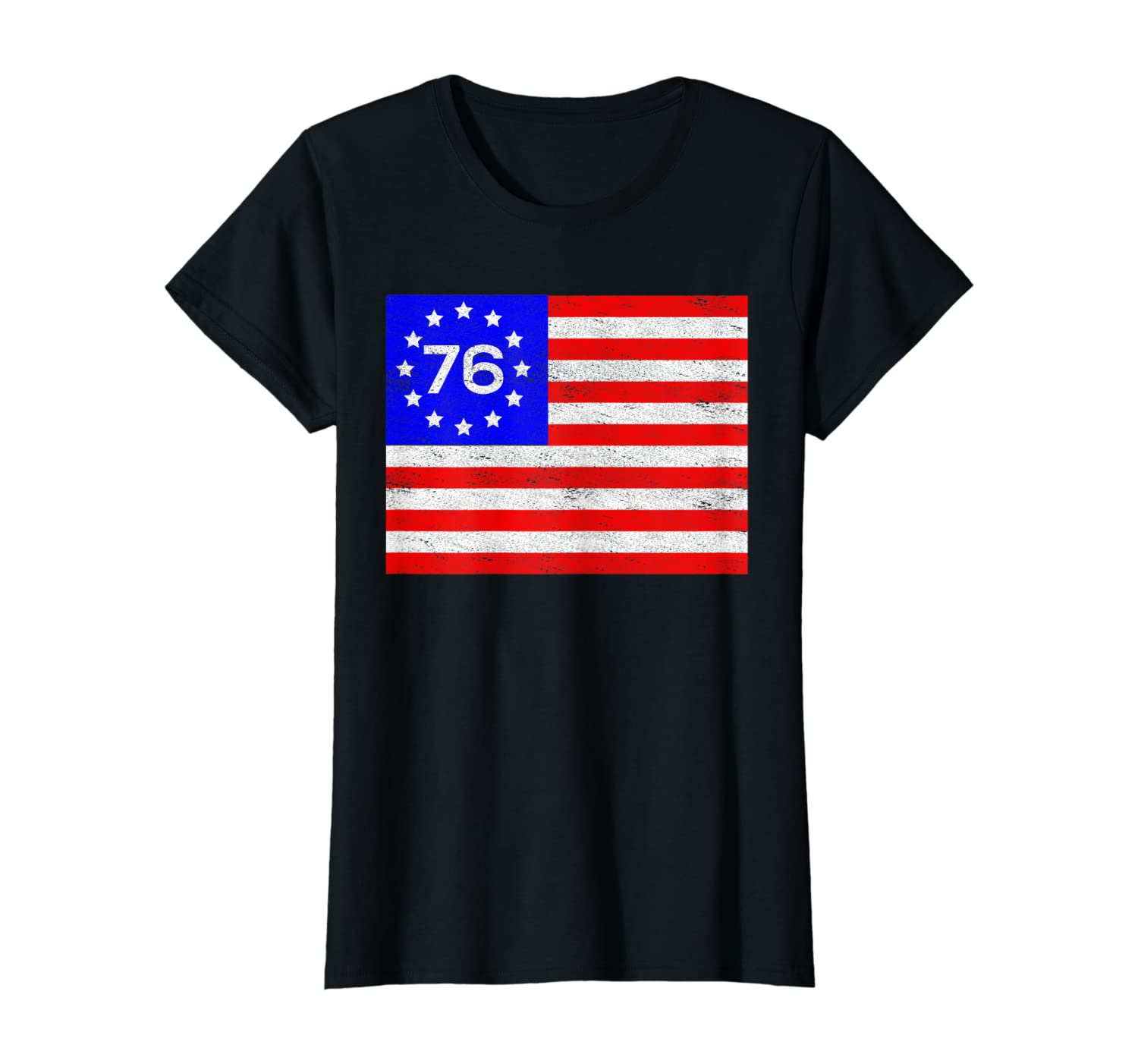 1776 13 Colonies Stars Betsy Ross Vintage Flag USA American T-Shirt