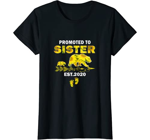 Womens Promoted To Sister Est 2020 First Time Sister Bear Sunflower T Shirt