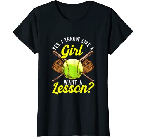 Yes I Throw Like A Girl Want A Lesson? Softball Pitcher Pun T Shirt