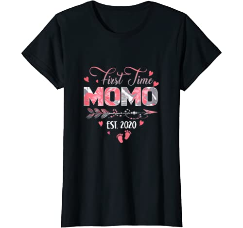 Womens Promoted To Momo Est 2020   First Time Grandma Floral T Shirt