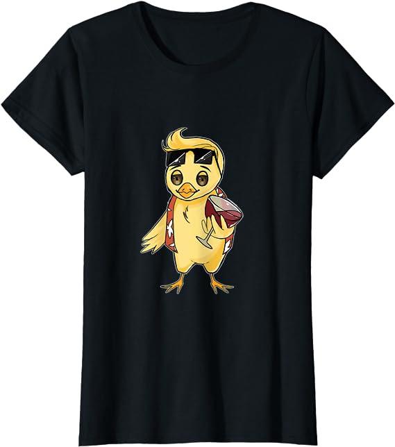 Damen Schnaps Wein Lustig Wein trinkendes Huhn T-Shirt