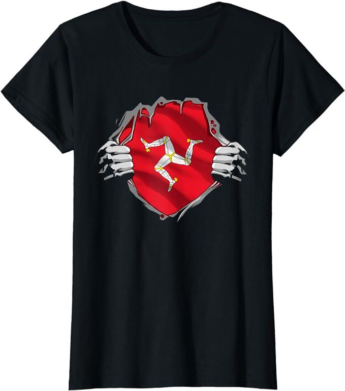 Super Manx Heritage Shirt Isle Of Man Roots Flag Gift T Shirt Bekleidung