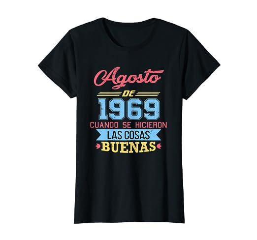 Amazon.com: Womens Camiseta 50 anos cumpleanos Agosto Mujer ...