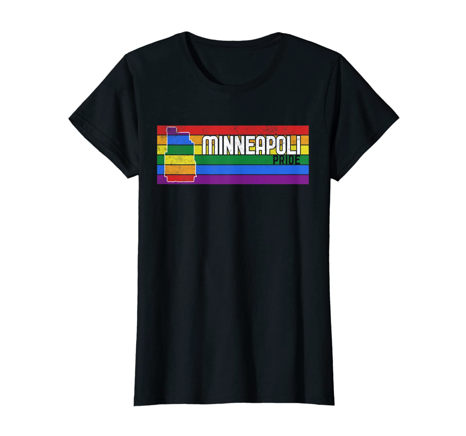 Distressed Minneapoli LGBT Pride T-Shirt-Yolotee