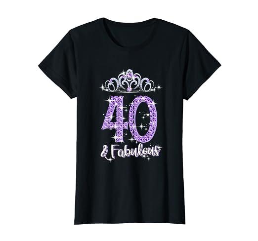 Amazon.com: Camiseta para mujer de 40 años y fabulosa 1979 ...