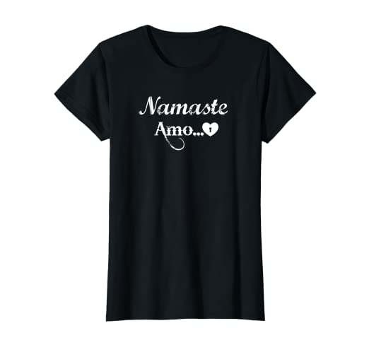Amazon.com: Womens Yoga lovers tee Namaste Amo Namaste Gift ...