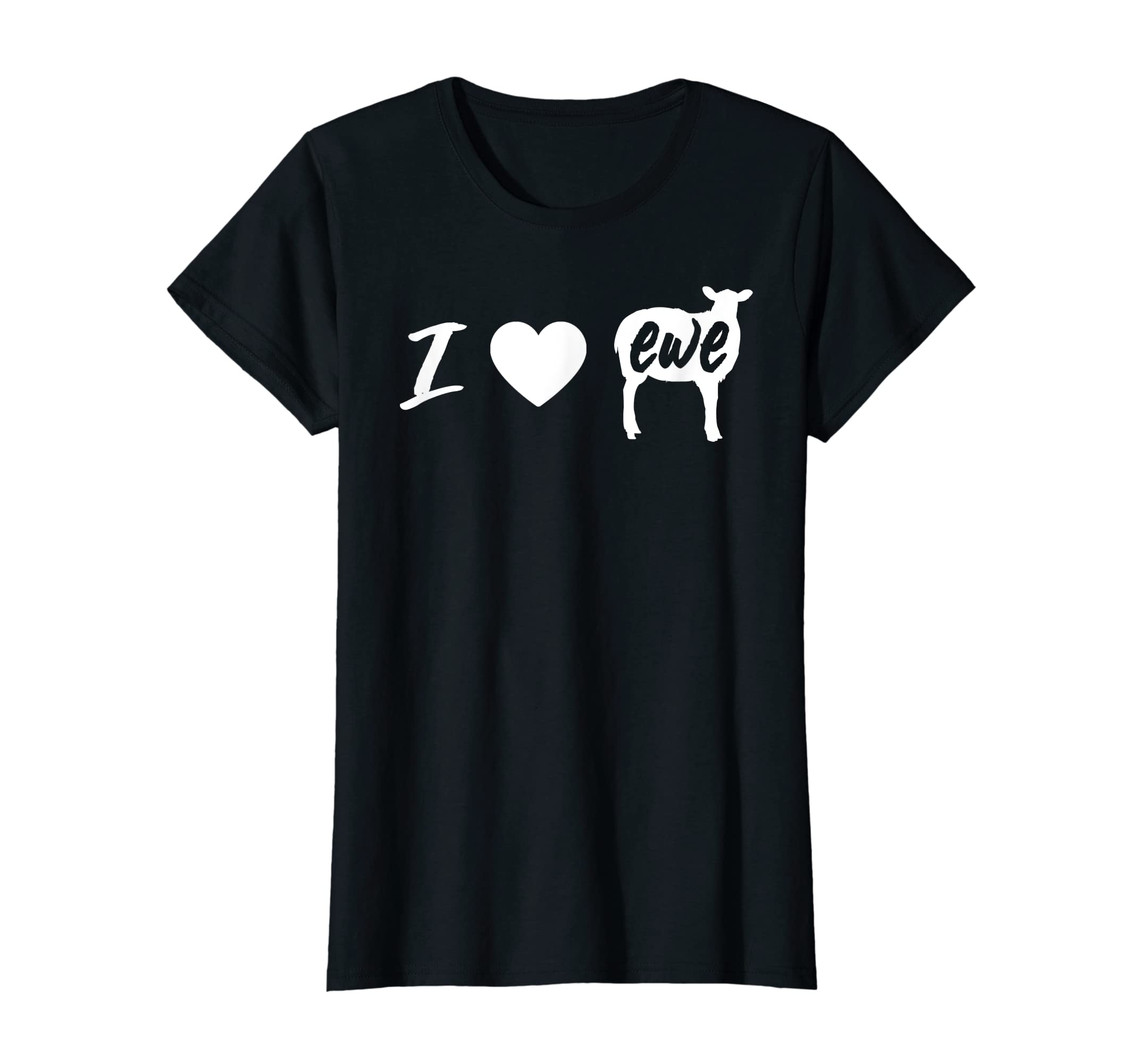 I Love Ewe - I Love You Sheep Pun Shirt-Women's T-Shirt-Black