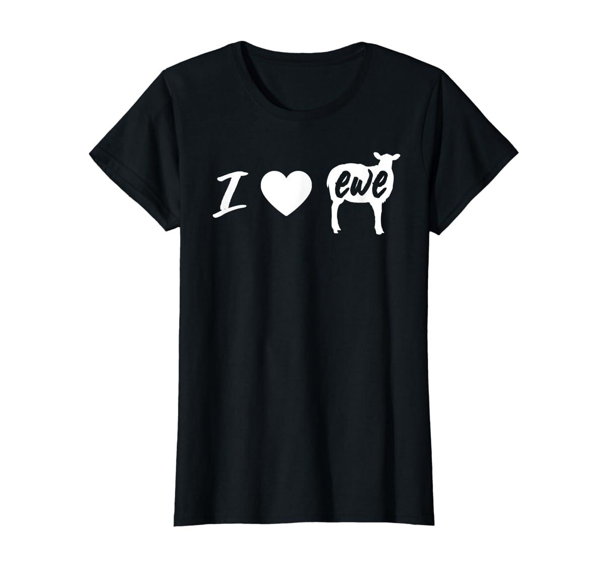 I Love Ewe - I Love You Sheep Pun Shirt-Women's T-Shirt-Black