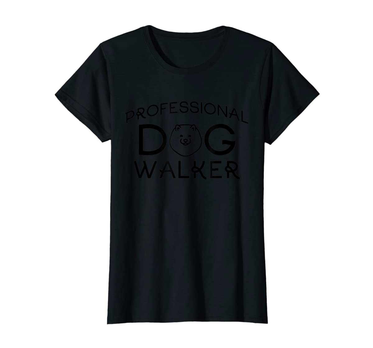 Professional Dog Walker Cute Puppy Tshirt Pet Lover T-Shirt-Women's T-Shirt-Black