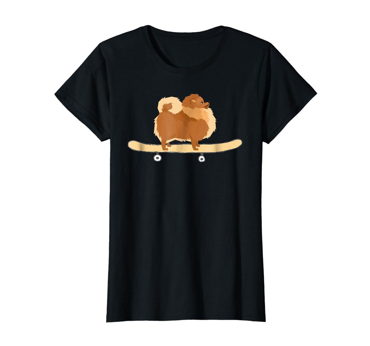 Funny Skateboarding Pomeranian Pom Puppy T-Shirt Gift-Women's T-Shirt-Black
