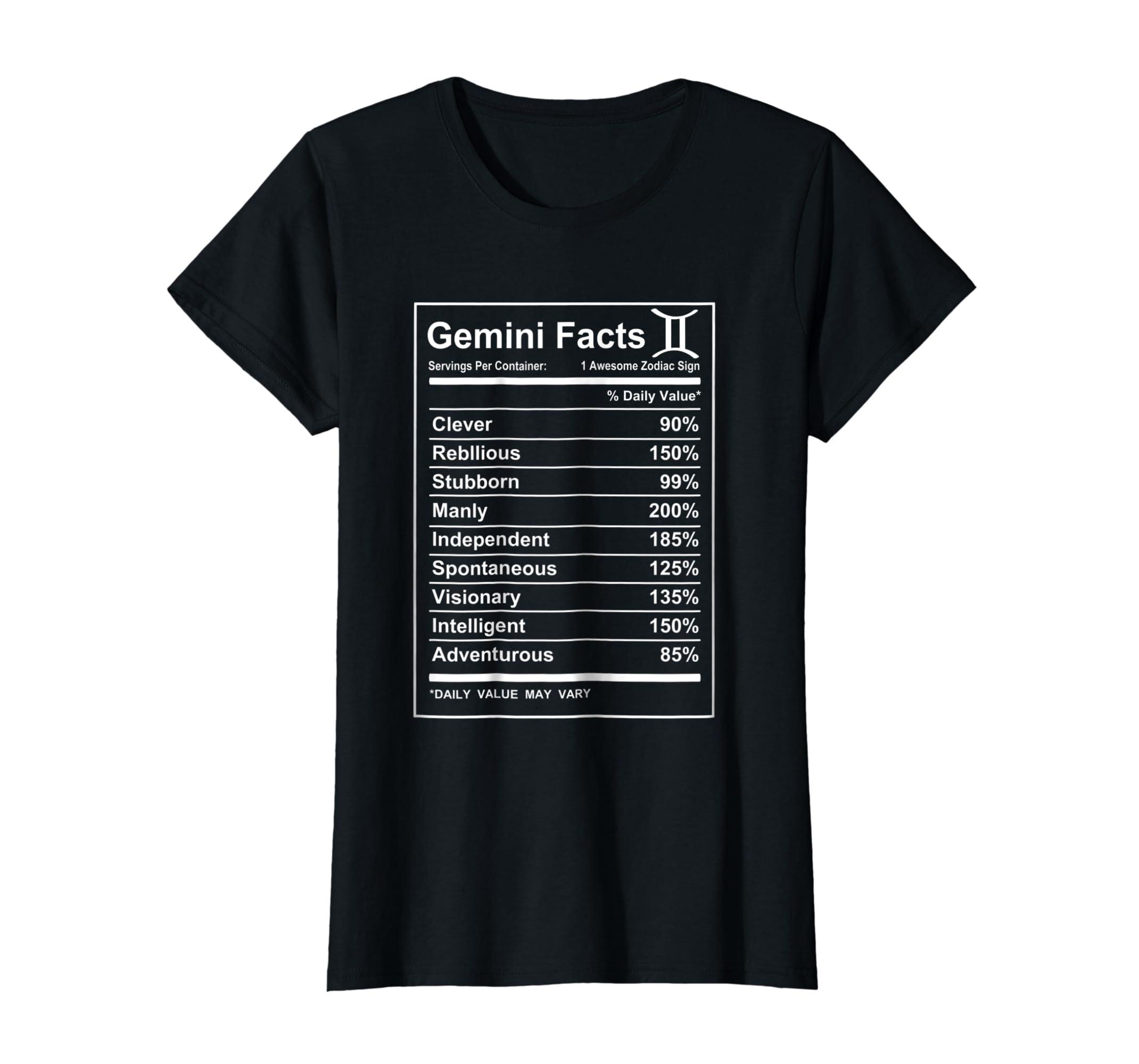 134c9d05fb Amazon.com: Gemini Facts - Funny Gemini zodiac T-shirt Cool short sleeve:  Clothing