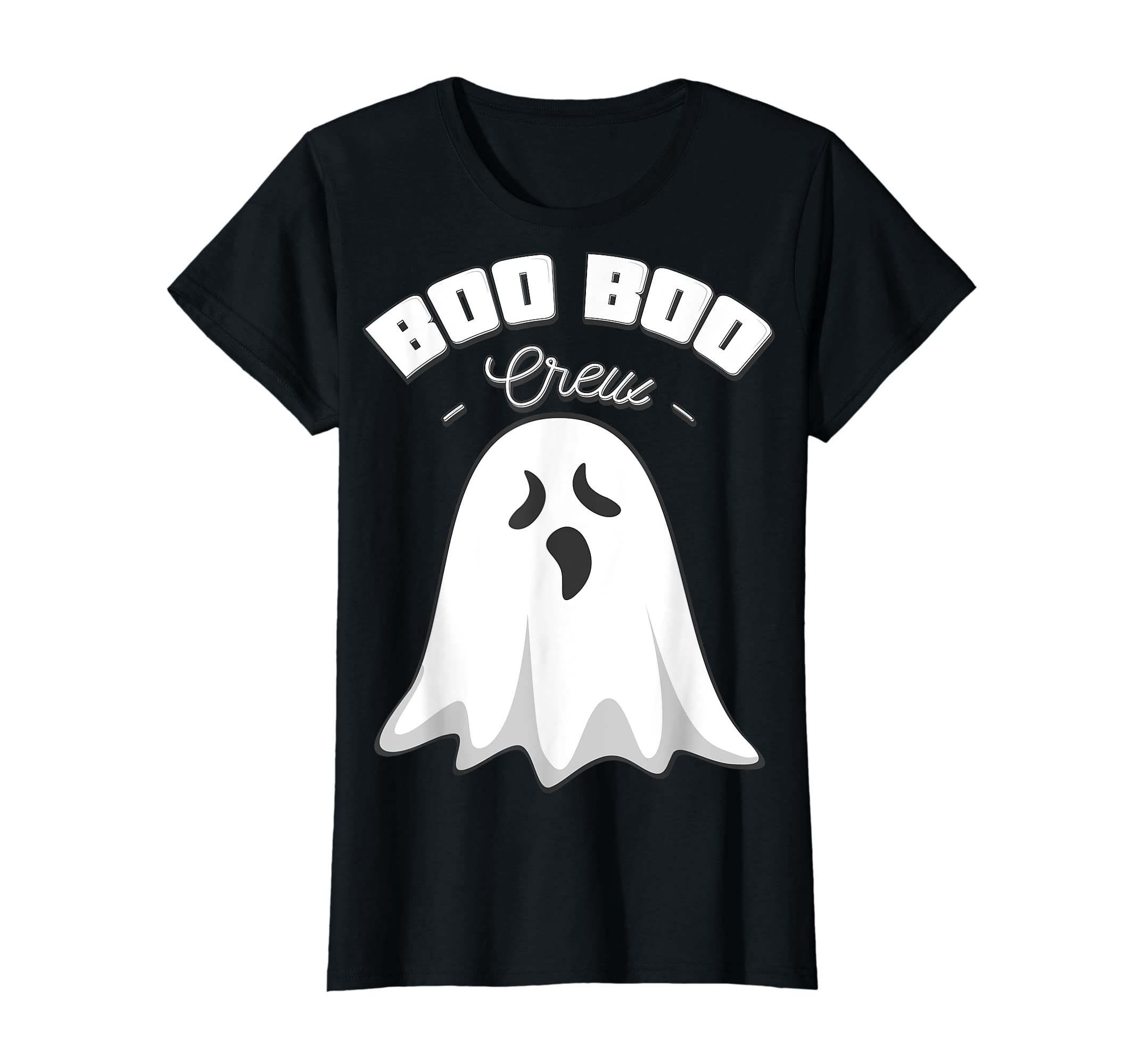Boo Boo Crew Ghost Funny Halloween Black and Orange Night  T-Shirt-Women's T-Shirt-Black