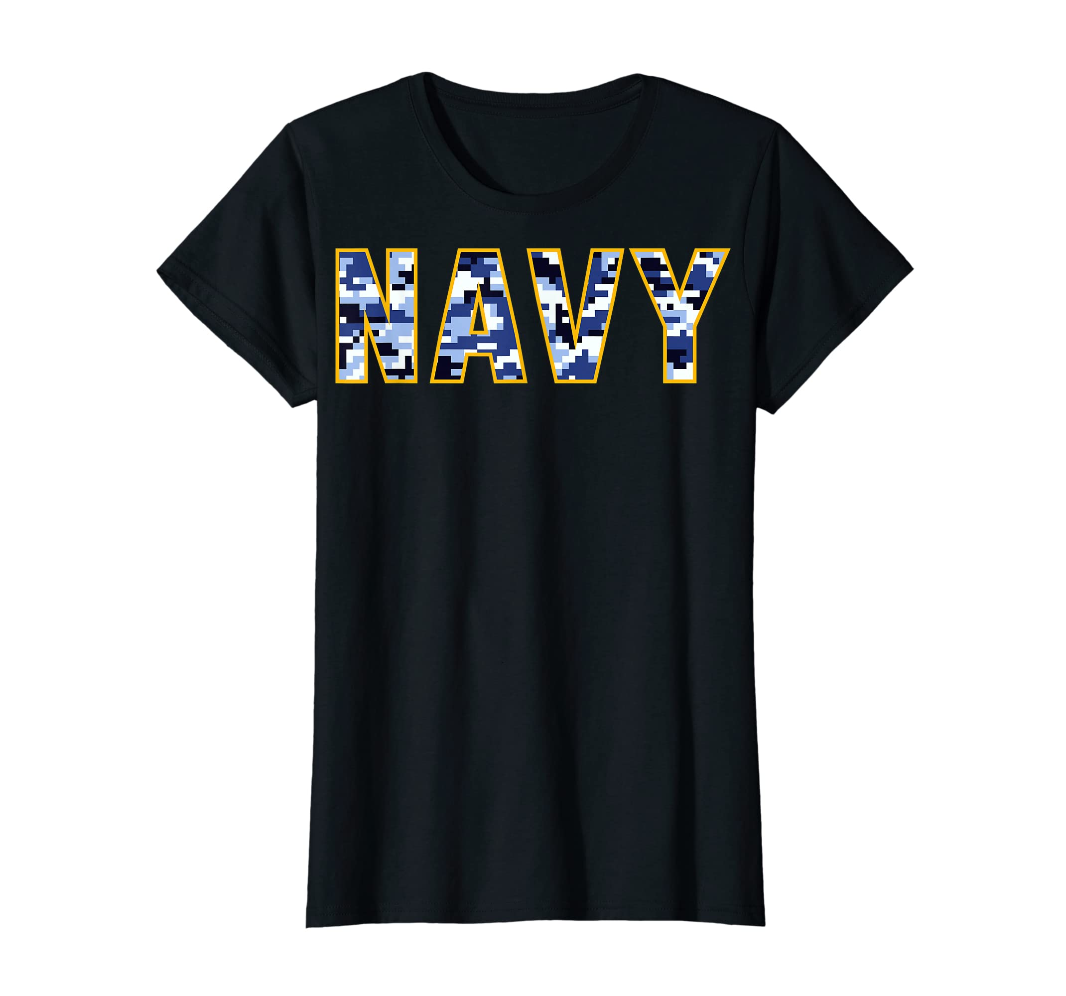 US Navy Camo Shirt Digital Camouflage Tee-Women's T-Shirt-Black