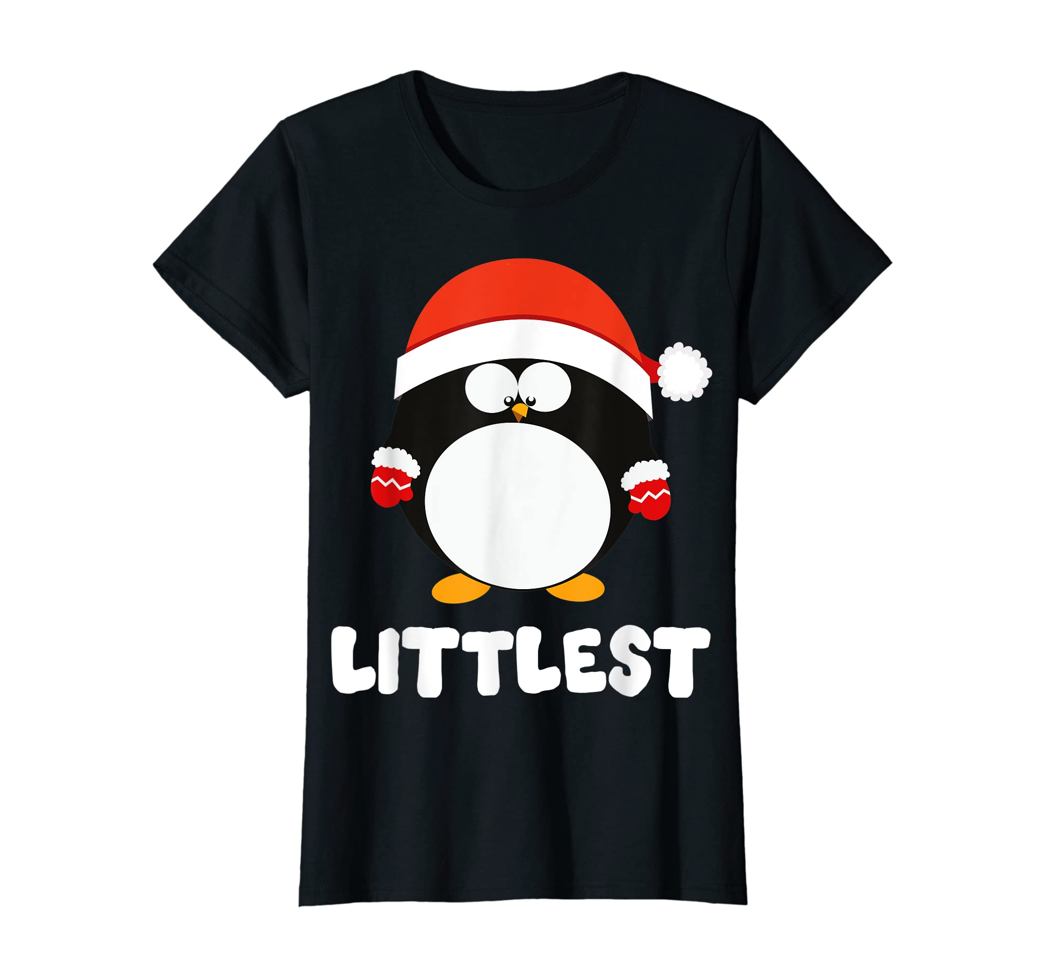 Santa Littlest Penguin Christmas Family Matching Costume T-Shirt-Women's T-Shirt-Black