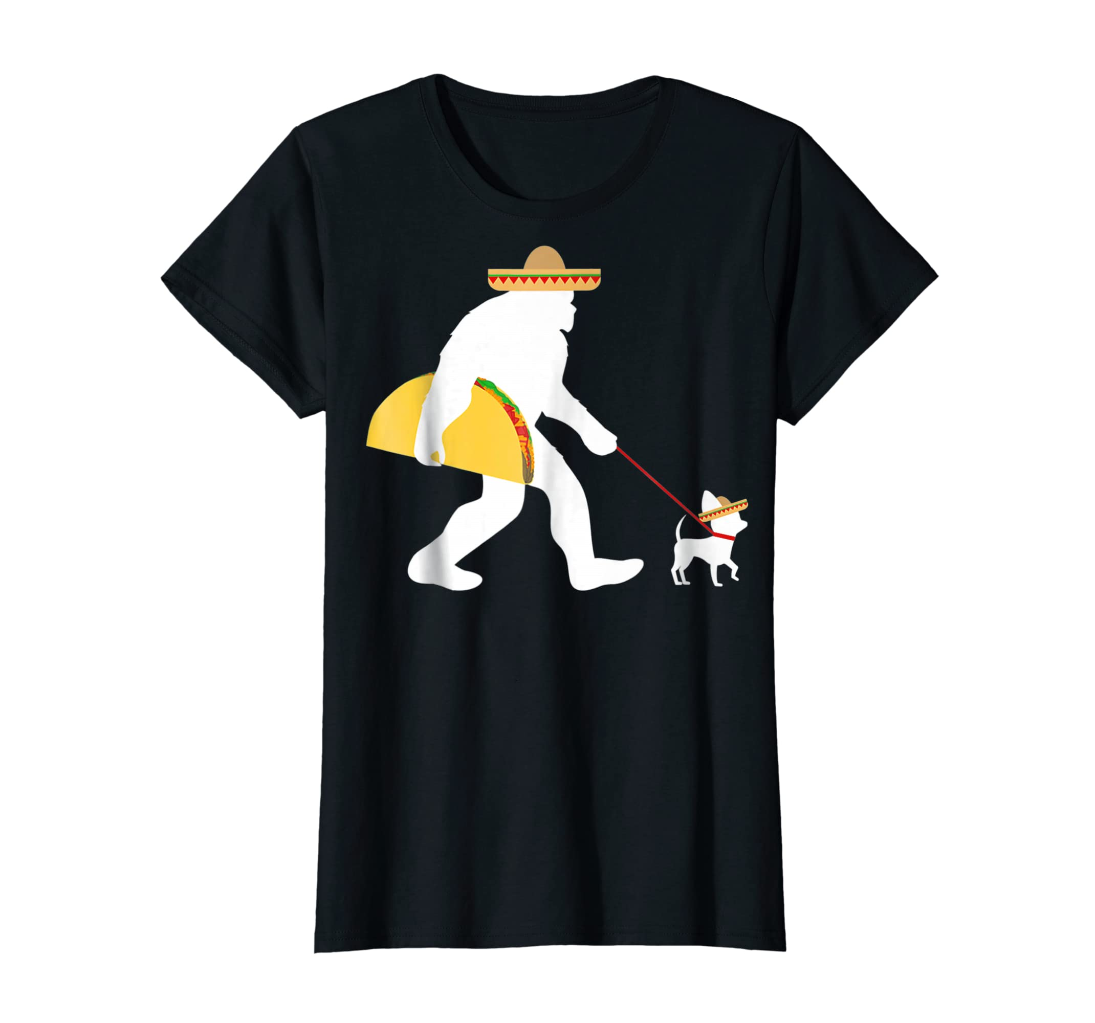 Bigfoot Taco Sombrero Chihuahua Dog Cinco de Mayo T-shirt-Women's T-Shirt-Black