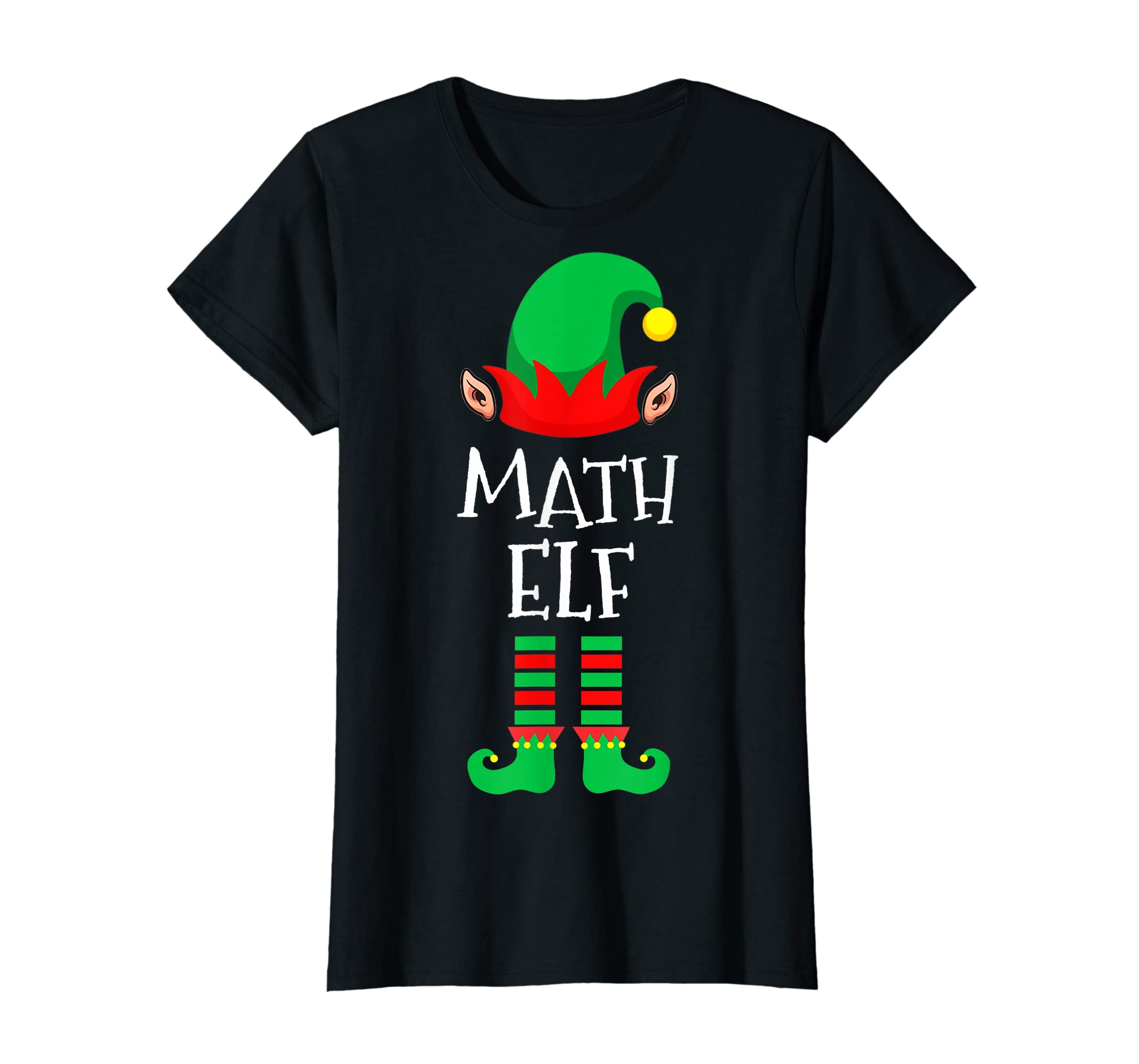 Math Elf - Funny School Teacher Christmas T-Shirt-Women's T-Shirt-Black