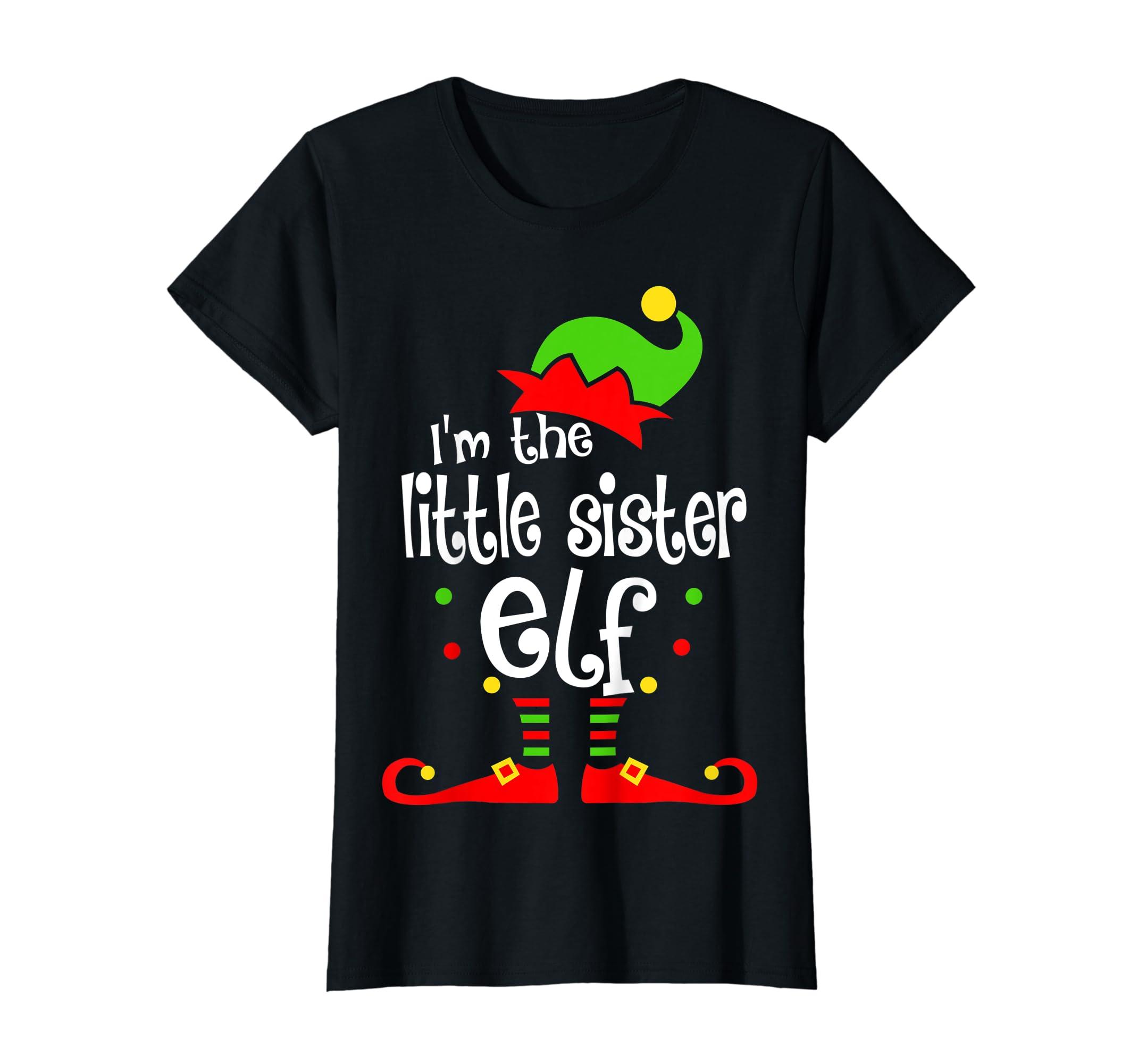 Kids Little Sister Elf Christmas Costume Outfit Xmas Gift T-Shirt-Women's T-Shirt-Black