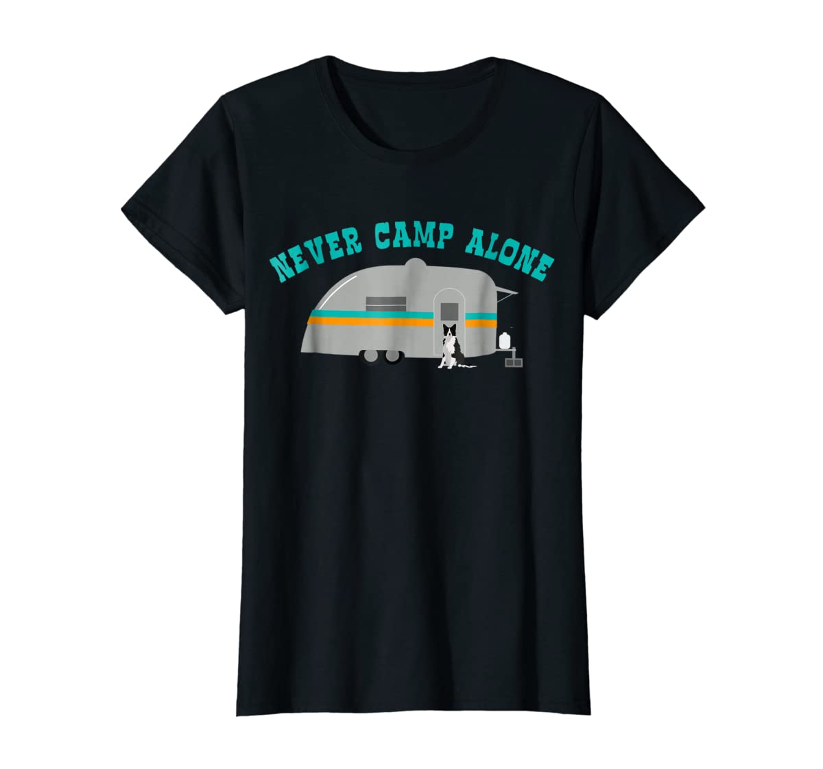 Border Collie Dog RV Shirt Funny Camping Travel Trailer-Women's T-Shirt-Black