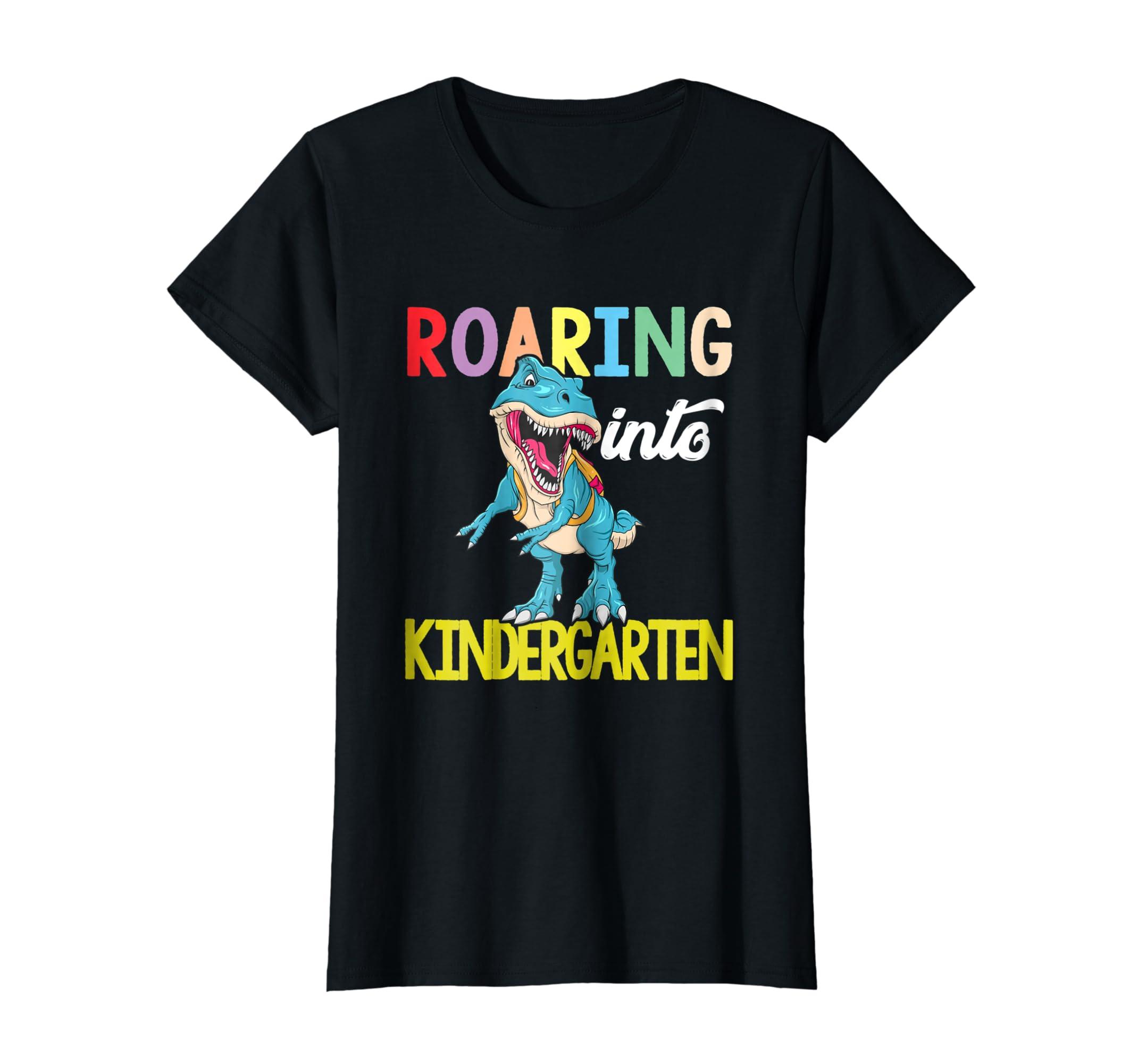 Funny Roaring Into Kindergarten Tyrannosaurus Rex Gift Shirt-Awarplus