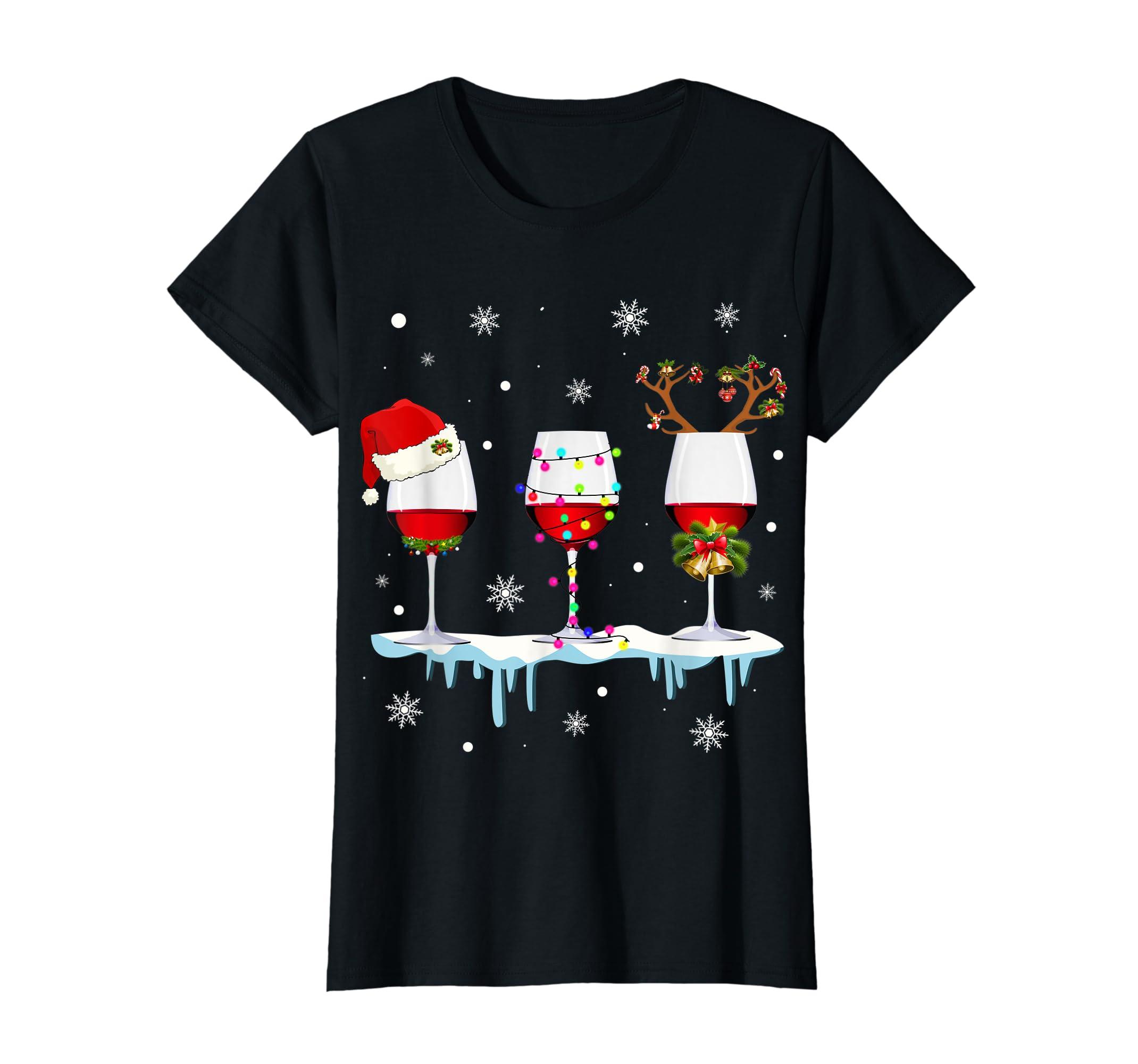 Three Glass of Red Wine Santa Hat Christmas T-Shirt-Women's T-Shirt-Black