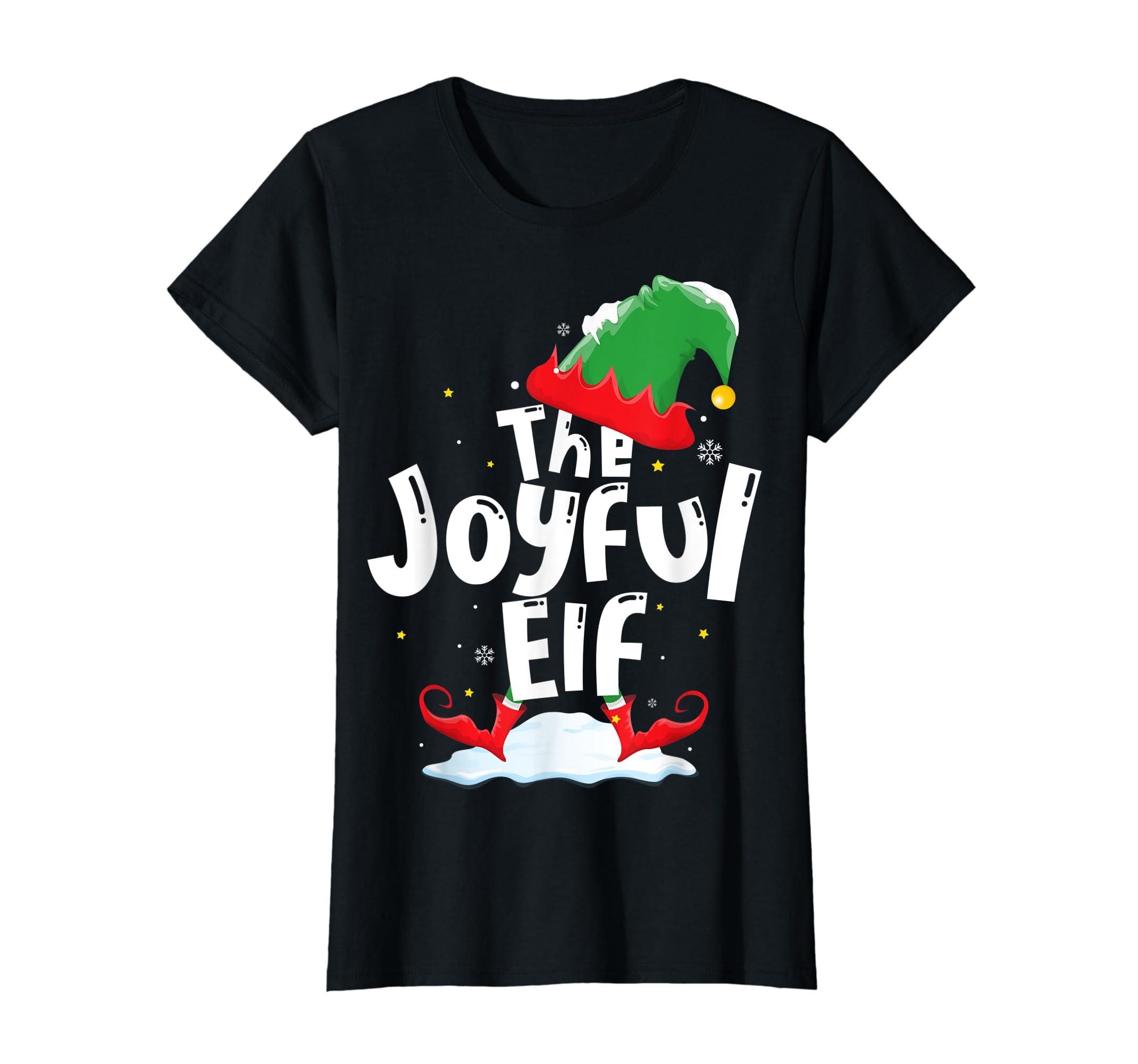 The Joyful Elf Group Matching Family Christmas Gifts Holiday T-Shirt-Women's T-Shirt-Black
